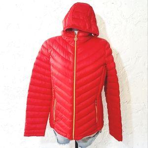 MK Michael Kors puffer zip up hooded red jacket